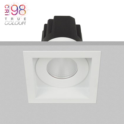 DLD Eiger 1-S fixed LED recessed downlight with square white bezel, installed in the ceiling & showing the light engine heat sink & True Colour CRI98 logo