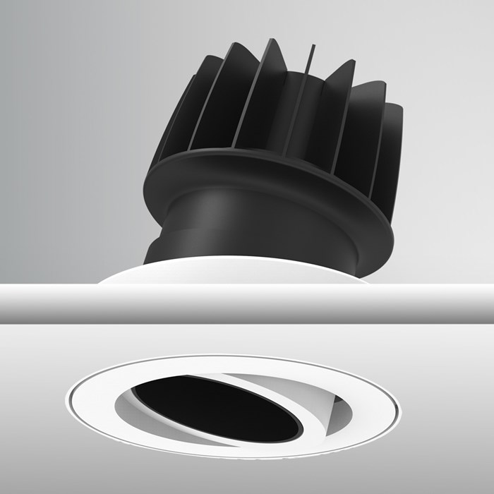 Close up of DLD Atlas Truecolour CRI98 IP65 adjustable downlight recessed and plastered into the ceiling and showing bezel and heat sink