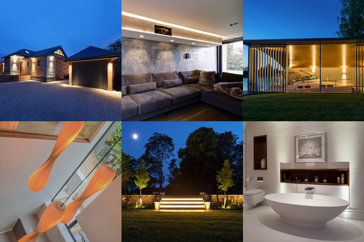 Lighting Design Project Portfolio - montage of contemporary and minimal indoor and outdoor lighting schemes