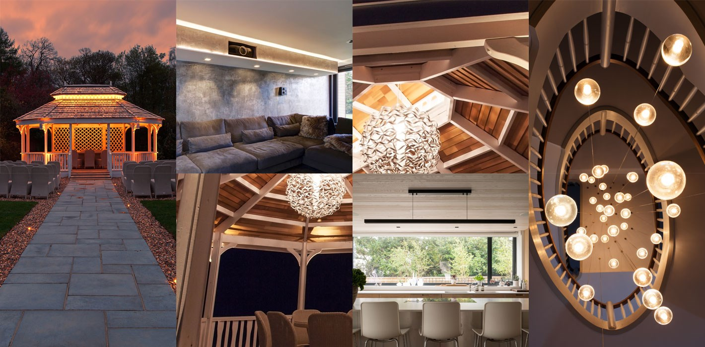 Lighting Design Project Portfolio - montage of contemporary indoor & outdoor lighting projects