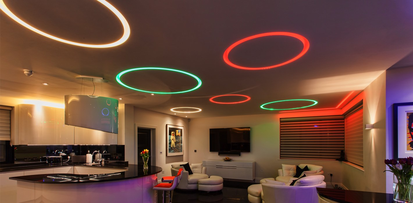 Premium Lighting Design - bespoke circular linear profile lighting in a contemporary living space