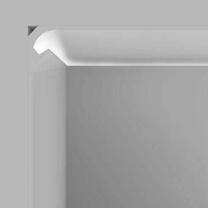 CGI cross section of Eleni EL200 recessed plaster in cornice LED lighting installed into the ceiling and wall with the LED switched on