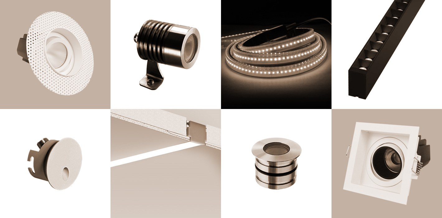 Lighting Specification and Supply - montage of contemporary products used on a specification, including plaster-in trimless downlights, downlights with trim, LED tape, aluminium profile, floor uplighters, recessed step lights, outdoor spike spots & track