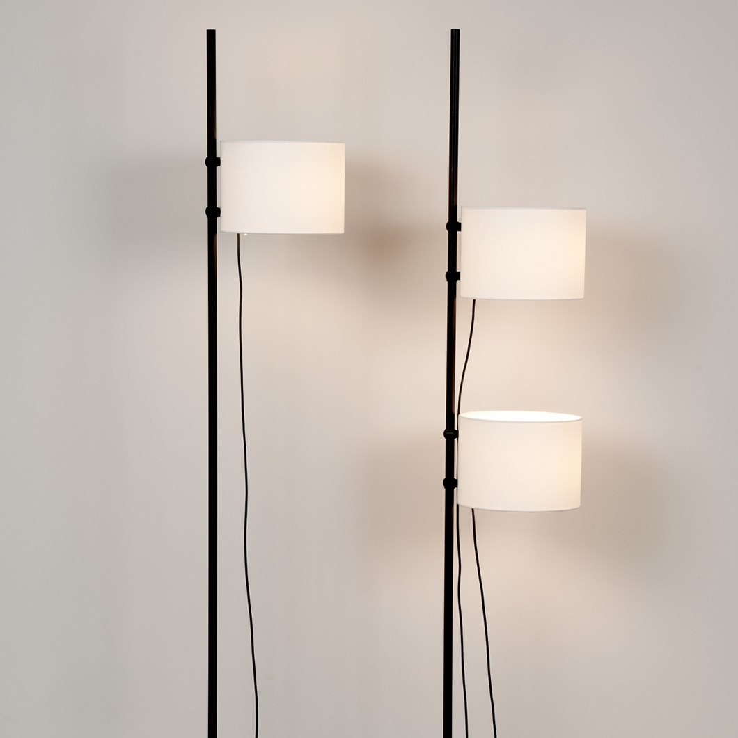 Freestanding floor lamp by Milan iluminacion close up of lamp shades