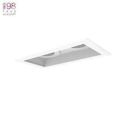 Dual Led recessed down lighter for ceiling with no background finished in white
