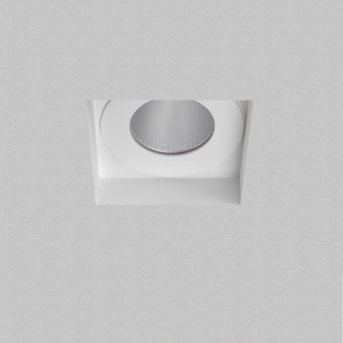 Recessed ceiling light with a plaster board background, square fitting
