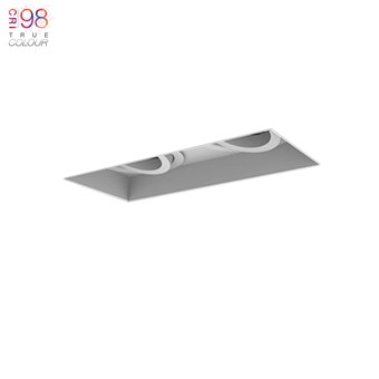 Double ceiling mounted down lighter, adjustable fitting with a warm white led bulb