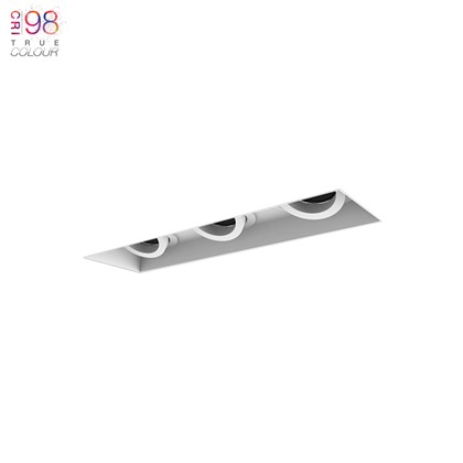 Tripple ceiling mounted down lighter, perfect for the home, plaster board mount
