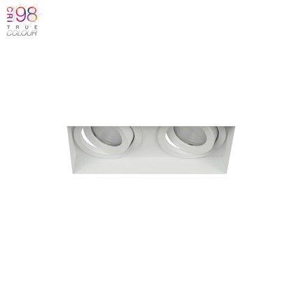 Dual mounted eiger mini, finished in white, fully adjustable, great for home lighting
