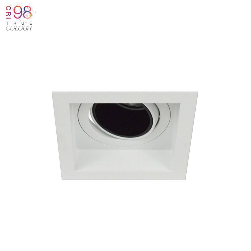 square andes ceiling mounted, with trim, no plaster downlighter, warm bright led