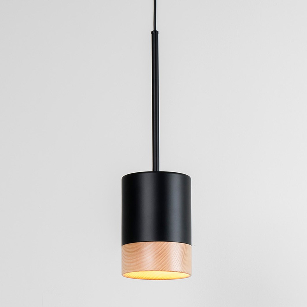 Hanging Pendant light by milan finished in black and wood with a warm soft led glow