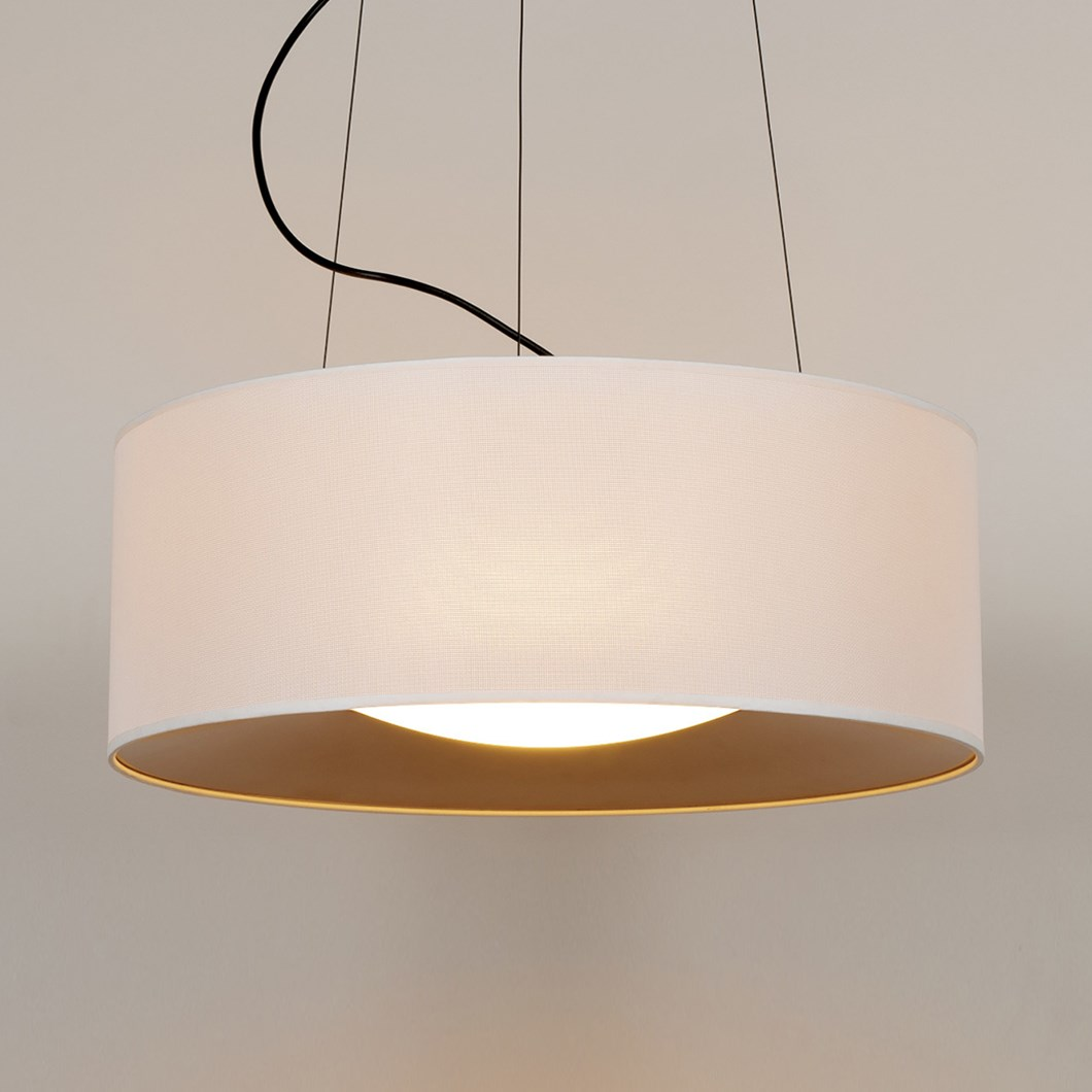 Milan Iluminacion hanging lid pendant, finished in white and gold