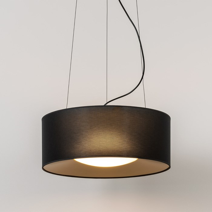 Suspended Milan Iluminacion lid light finished in black and gold