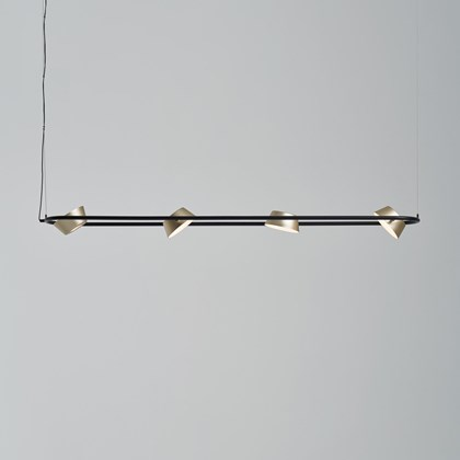 The Olo PL4 Pendant by Seed Design in black and gold with the shades adjusted.