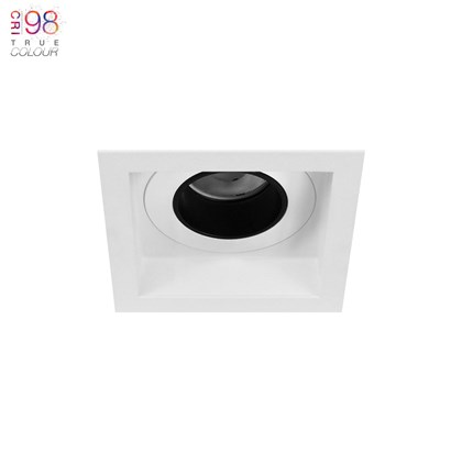 DLD Andes 1 Square Fixed Recessed Downlight, installed in a white ceiling, with TrueColour CRI98 logo