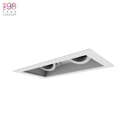 DLD Eiger 2 Recessed with trim Twin Adjustable Downlight installed on white background with TrueColour CRI98 logo