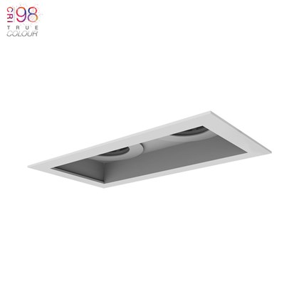 DLD Eiger 2 Recessed with trim Twin Fixed Downlight installed on white background with TrueColour CRI98 logo
