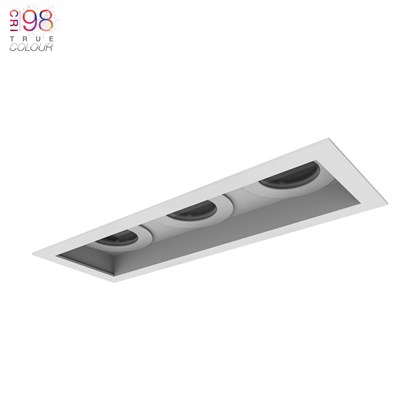 DLD Eiger 3 Recessed with trim triple Fixed Downlight installed on white background with TrueColour CRI98 logo